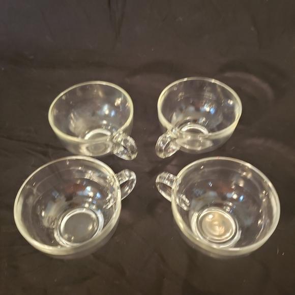 Vintage Other - Set of 4 Vintage Clear Glass Teacups